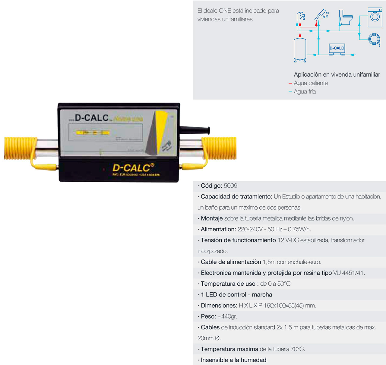 D-CALC ONE - Desincrustador calcareo doméstico